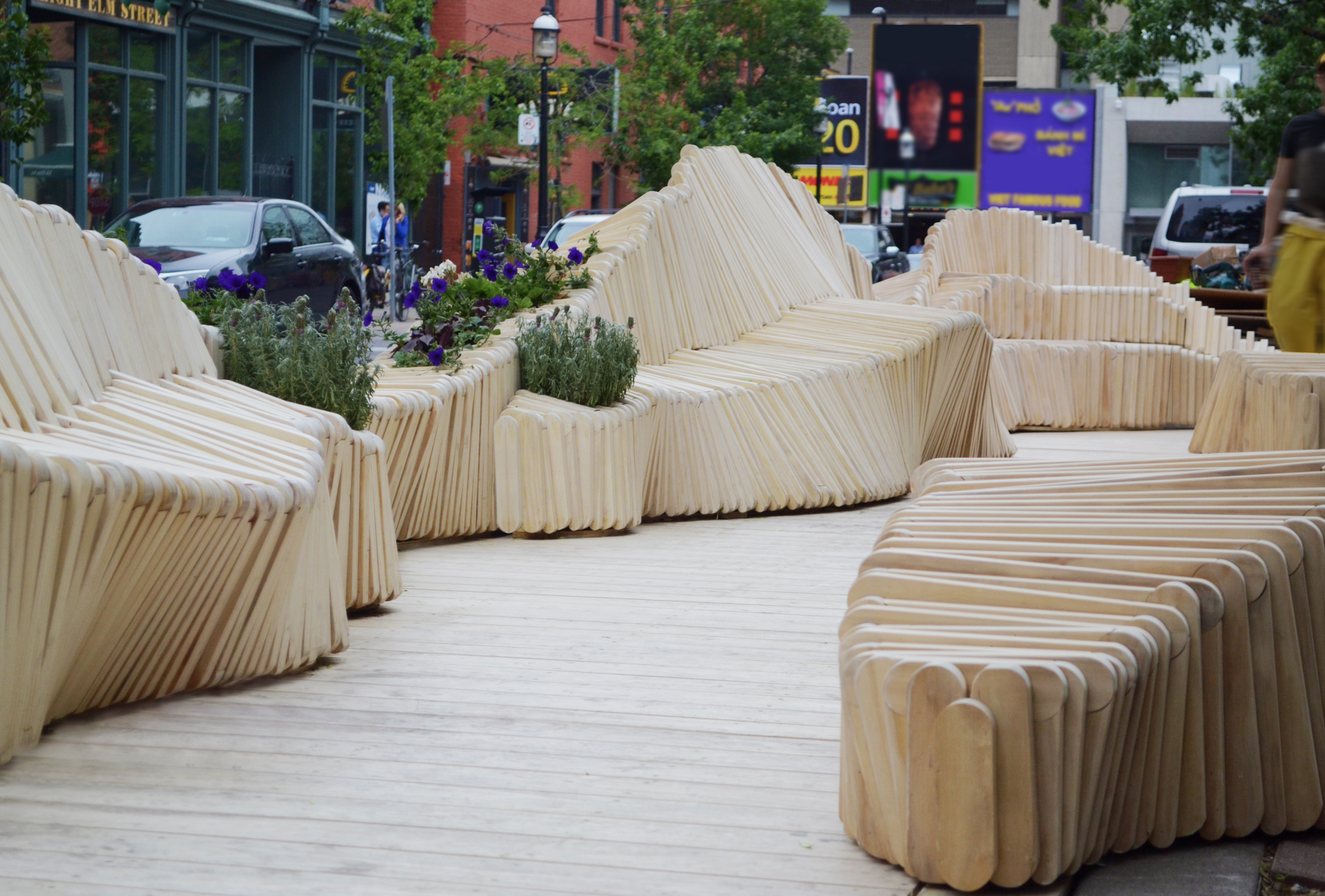 A Modular Wooden Bench Forms The Backbone Of This Awesome