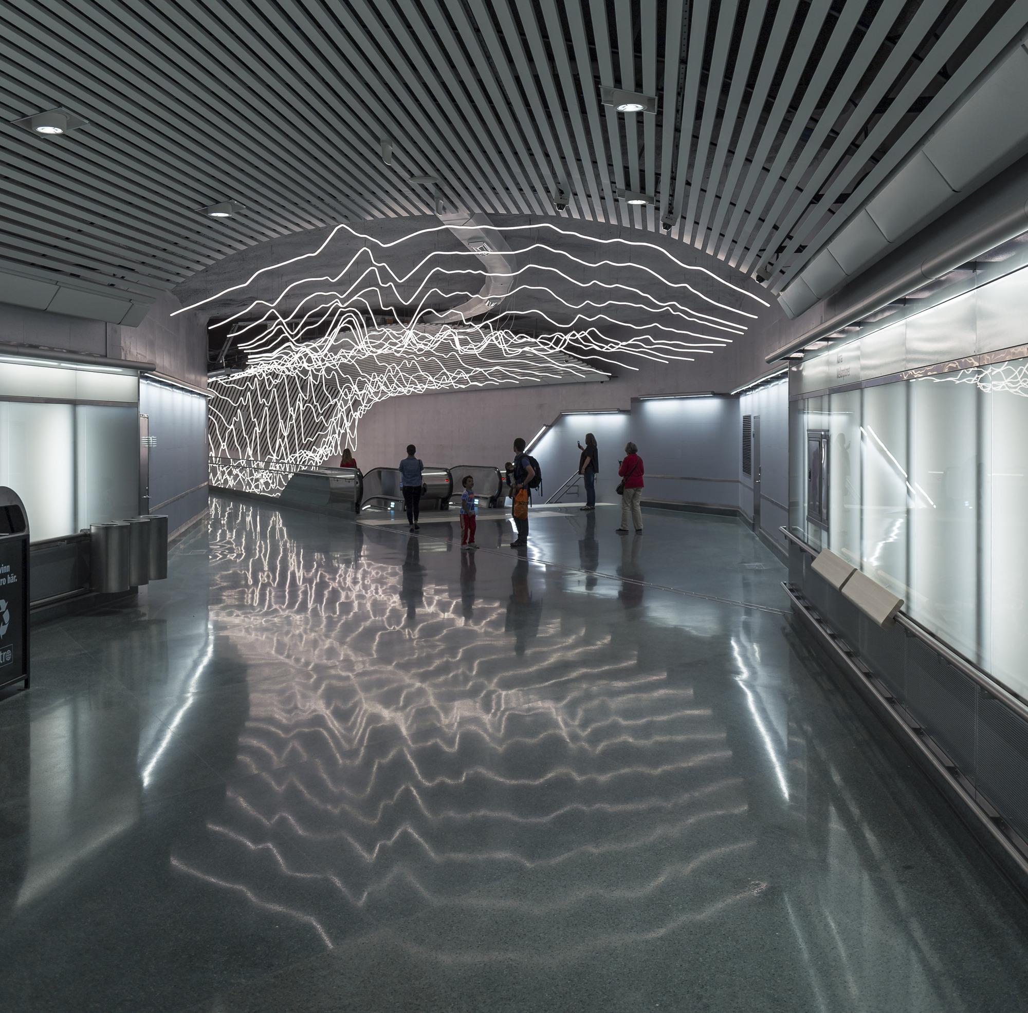 Galer a de una instalaci n de iluminaci n led suspendida - Arquitectos de interiores famosos ...