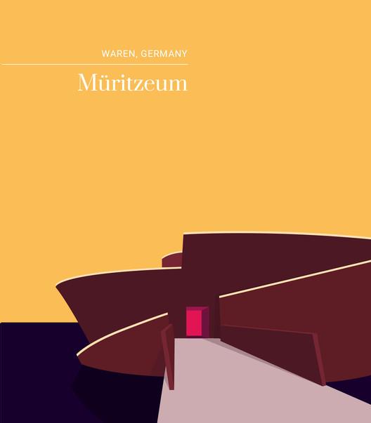 Monumental Minds: ilustrações do legado arquitetônico escandinavo, Müritzeum, Alemanha. Cortesia de Expedia Dinamarca, Suécia, Noruega e Finlândia