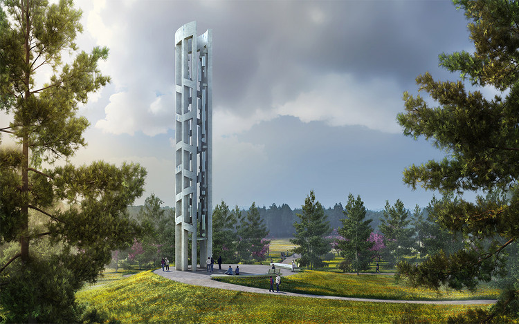 "93-Foot-Tall ""Tower of Voices"" to Commemorate 9/11 Victims with Wind Chime Soundscape, Courtesy of Arup"