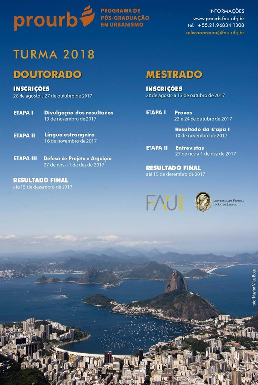 Inscrições abertas para o Programa de Pós-Graduação em Urbanismo da Universidade Federal do Rio de Janeiro, Cortesia de PROURB