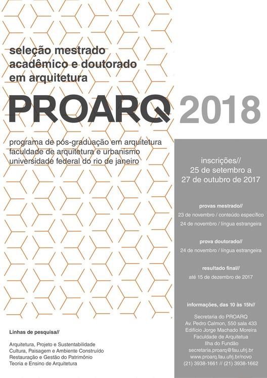 Inscrições abertas para a Pós-Graduação em Arquitetura da Universidade Federal do Rio de Janeiro, Cortesia de PROARQ UFRJ