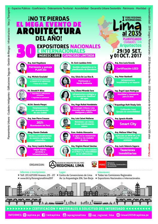 I Foro Internacional Regional 'LimaI al 2035', Conferencistas Nacionales e Internacionales