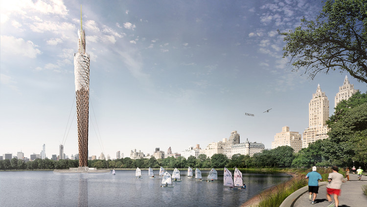 Proposed World's Tallest Wooden Structure Would Filter Contaminated Water in New York's Central Park, © DFA