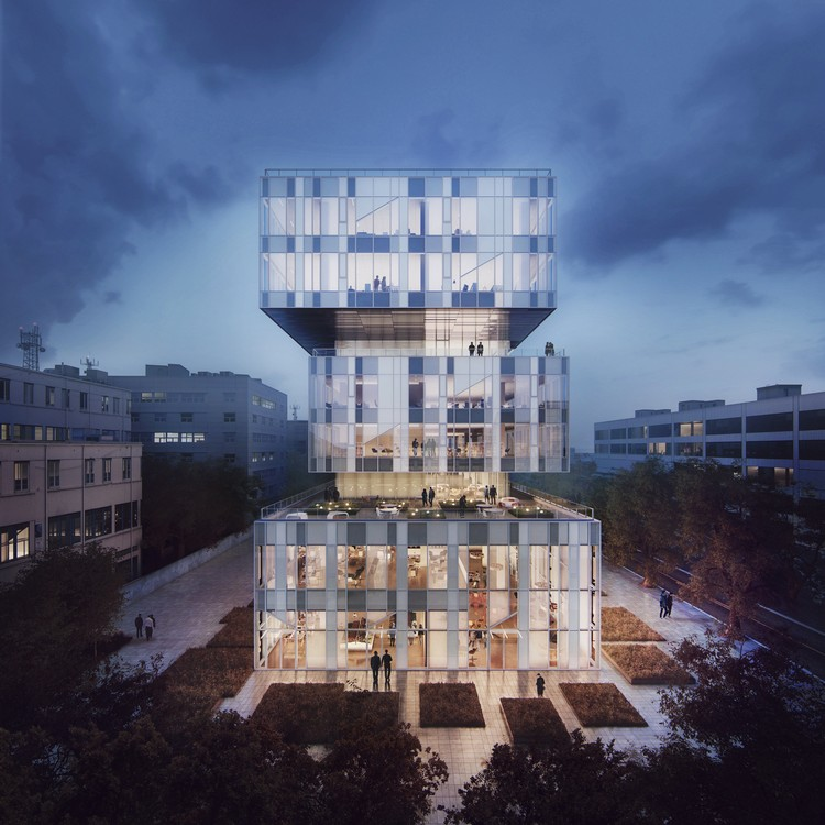 Schmidt Hammer Lassen Breaks Ground on Glass Box Headquarters of Creative Incubator in China, © Beauty and the Bit