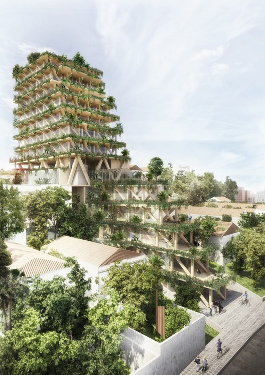 Triptyque Proposes Tall Building Made of 100% Brazilian Wood, Cortesia de Triptyque