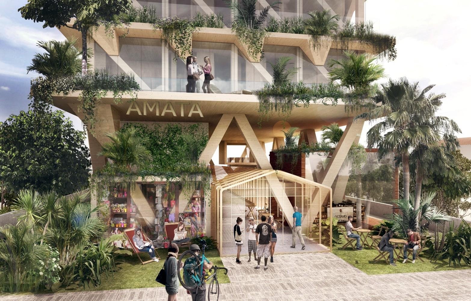 Triptyque divulga projeto de edifício escalonado de madeira certificada na Vila Madalena,Cortesia de Triptyque