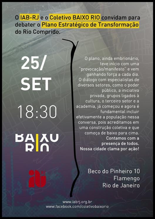 Debate sobre o Plano Estratégico de Transformação para o Rio Comprido no Rio de Janeiro, Cartaz com Informações do Evento Divulgado pelo IAB - Arte: Guto Santos