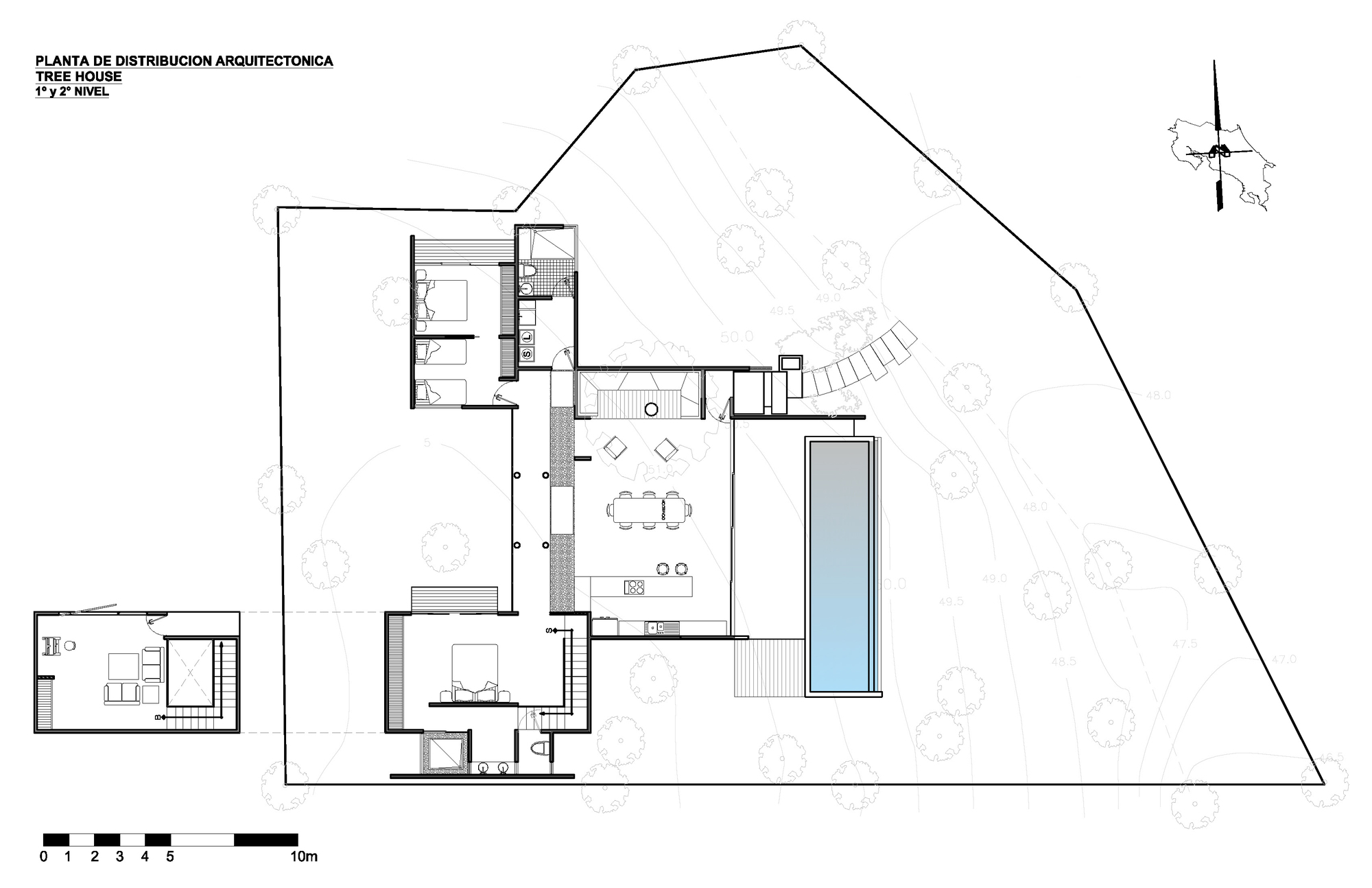 Gallery of tree house qbo3 arquitectos 21 for Tree house floor plans