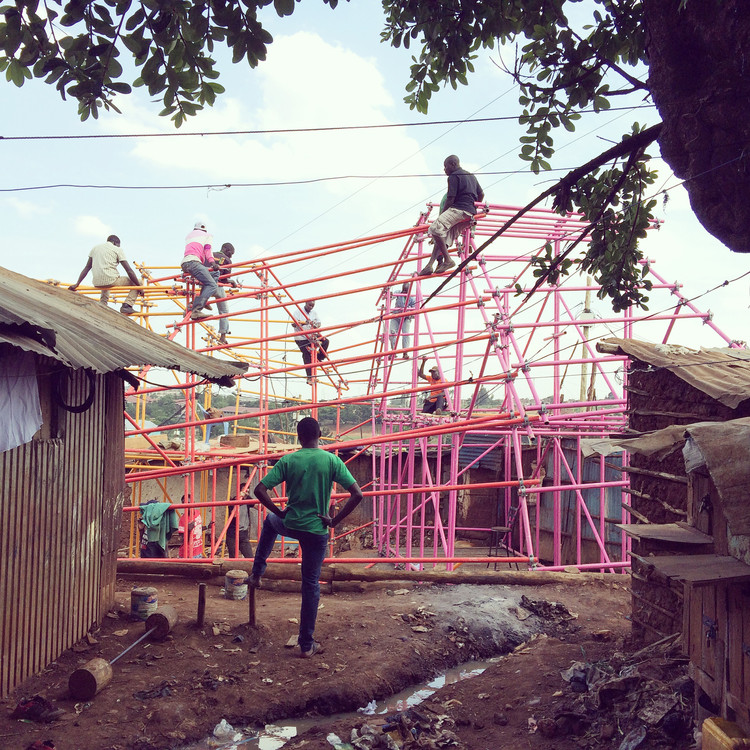 Exhibition: Scaffolding at Center for Architecture, Image: Kibera Hamlets School by SelgasCano, Helloeverything, and studio.14, photo credit: helloeverything