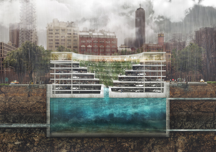 All-In-One Structure Solves Flooding, Parking and the Lack of Green Space in Cities, Courtesy of THIRD NATURE