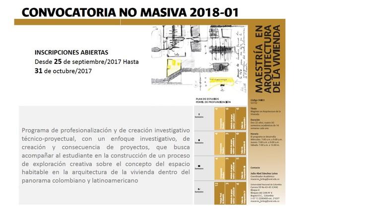 Convocatoria Maestría Arquitectura de la Vivienda de la Universidad Nacional de Colombia , imagen diseñan da  para el programa Maestría en Arquitectura de la Vivienda