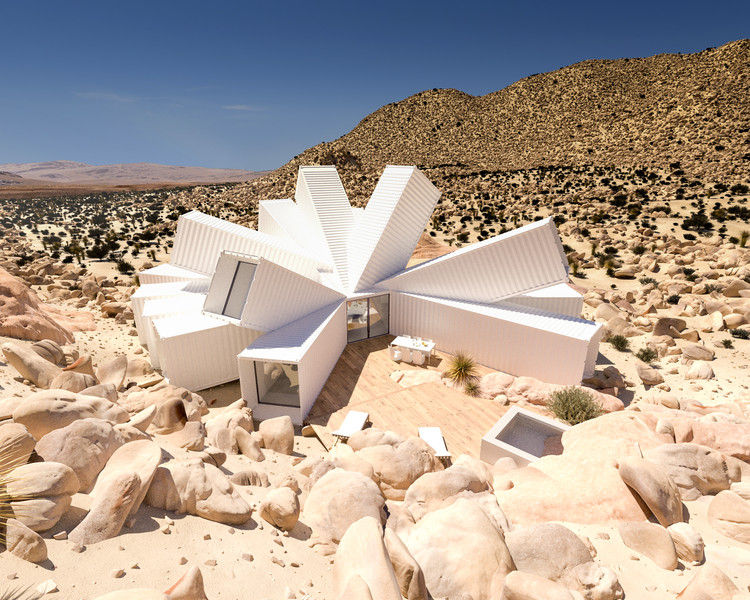 Shipping Container Home by Whitaker Studio Blooms Like a Desert Flower from Rocky Joshua Tree Site, Courtesy of Whitaker Studio
