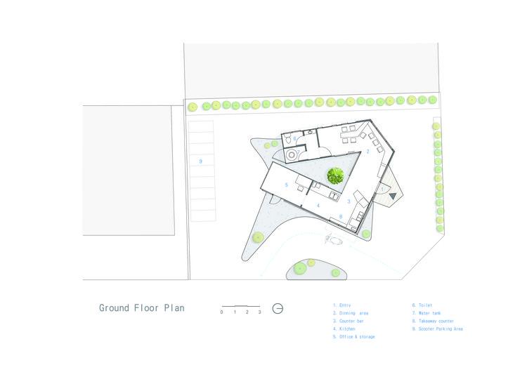 طرح طبقه همکف معماری کافه Ground Floor Plan