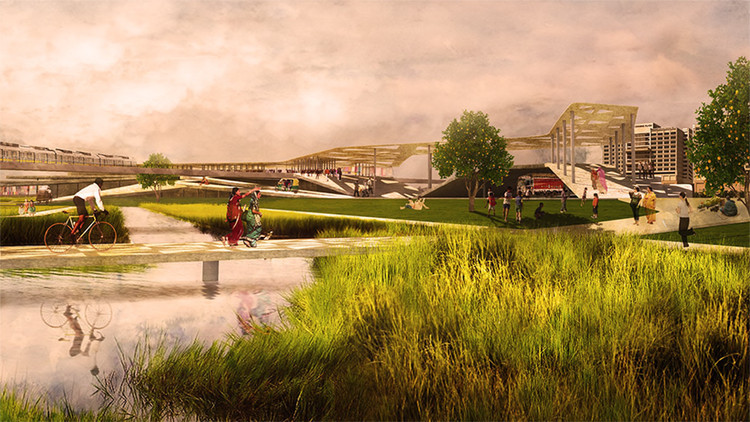 Next Cities Institute: Designing Global Urban Futures, Shahadra Park proposes to bring life back to part of the Yamuna River. Situated in-between dense urban fabric, this highly vegetated, expansive mandi creates a new ground over the drains. Courtesy of UVA School of Architecture / Brittany Duguay