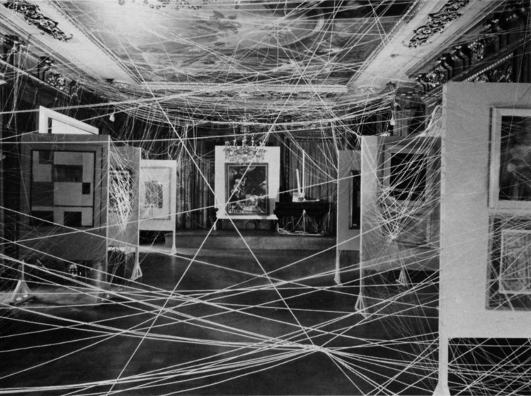 Are.na Research Platform Launches Grant Scheme, First Papers of Surrealism, 1942, New York. Installation view showing Marcel Duchamp's Mile of String, 1942.