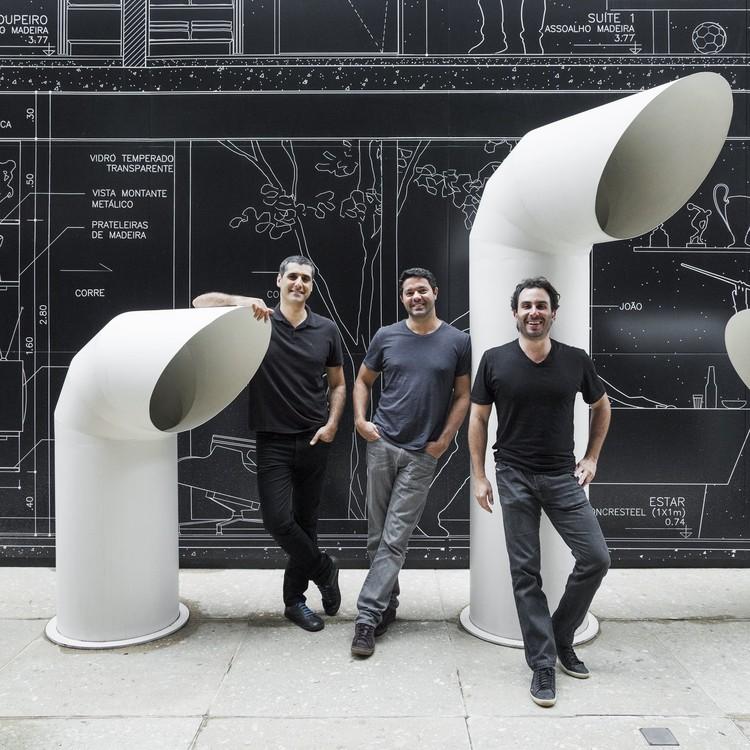 Lançamento do livro do FGMF Arquitetos, Os sócios Lourenço Gimenez, Rodrigo Marcondes Ferraz e Fernando Forte, do FGMF Arquitetos