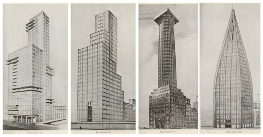 Some of the more radical proposals for the Tribune Tower by Walter Gropius and Adolf Meyer; Max Taut; Adolf Loos; and Bruno Taut, Walter Gunther, and Kurz Schutz. Image Courtesy of Chicago Architecture Biennial Blog (Consortia)
