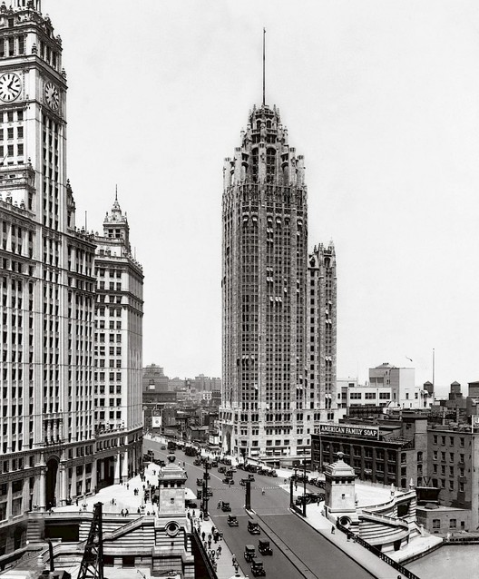 For nearly a century, Chicago's Tribune Tower has stood at the heart of the city's cultural heritage. Image Courtesy of Chicago Architecture Biennial Blog (Consortia)