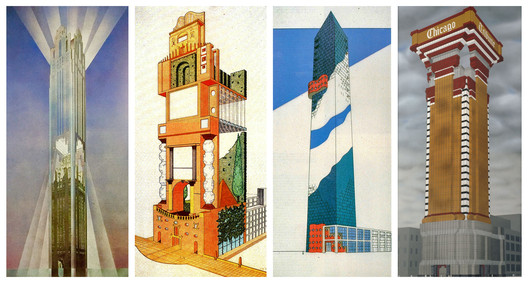 """The """"late entries"""" included fantastical designs by Helmut Jahn, Judith Di Maio, Arquitectonica, and Robert A.M. Stern. Image Courtesy of Chicago Architecture Biennial Blog (Consortia)"""