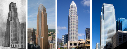 Eliel Saarinen's 1922 design at left, with views of the Wells Fargo Center, Bank of America Corporate Tower, and 180 W. Madison Street, all designed by César Pelli. Image Courtesy of Chicago Architecture Biennial Blog (Consortia)