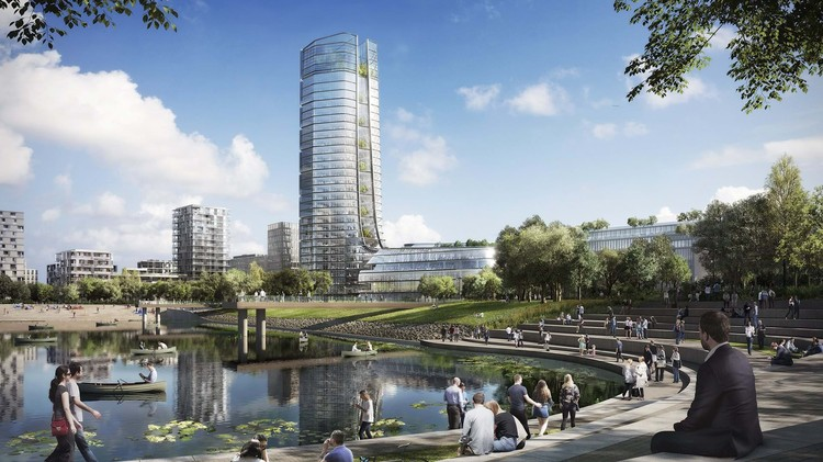 Foster + Partners Design Sustainable Corporate Campus Featuring Budapest's Tallest Building, © Foster + Partners