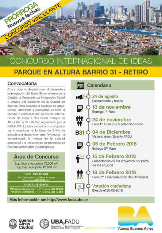 Concurso Internacional para diseñar 'Parque en Altura' sobre autopista a desactivar en Argentina
