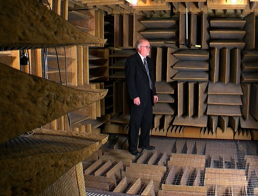 Steven J Orfield in his anechoic chamber at Orfield Labs, which has been certified by Guinness World Records as the quietest place on earth. Image via screenshot from <a href='http://minnesota.cbslocal.com/2016/06/26/finding-minnesota-orfield-laboratories/'>a WCCO video</a> about the chamber