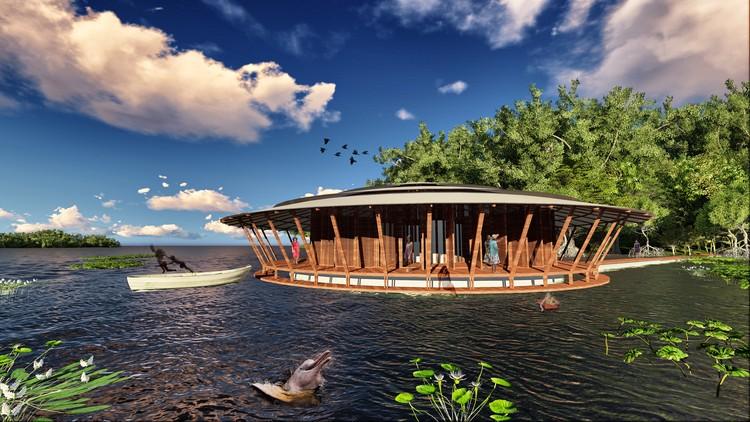Projeto pretende criar centro de aprendizagem flutuante na Amazônia, Amazon Climate Change Learning Centre. Image © Mamori Team