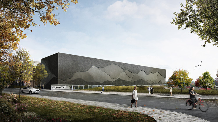 Nieto Sobejano Arquitectos Reveal Design of the New Montblanc Museum in Hamburg, Montblanc Haus. Exterior view. Image © Nieto Sobejano