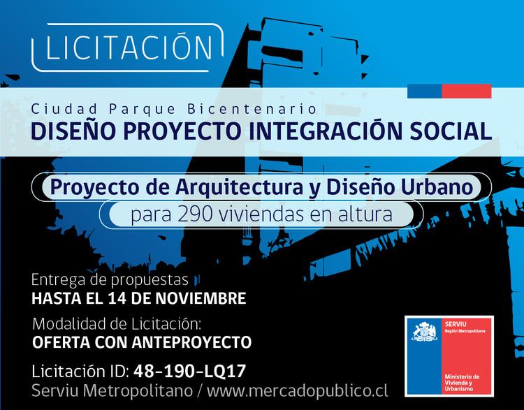 Abren licitación para diseñar proyecto de integración social en la Ciudad Parque Bicentenario en Chile, SERVIU RM