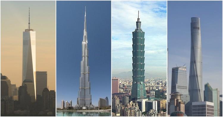 10 Maneiras diferentes de medir a altura de um arranha-céu, Da esquerda para a direita: One World Trade Center, image © James Ewing; Burj Khalifa, image © <a href='https://en.wikipedia.org/wiki/File:Burj_Khalifa.jpg'>Wikimedia user Donaldytong</a> licensed under <a href='https://creativecommons.org/licenses/by-sa/3.0/'>CC BY-SA 3.0</a>; Taipei 101, image © <a href='https://commons.wikimedia.org/wiki/File:Taipei_101_from_afar.jpg'>Wikimedia user peellden</a> licensed under <a href='https://creativecommons.org/licenses/by-sa/3.0/'>CC BY-SA 3.0</a>; Shanghai Tower, image © Gensler/Shen Zhonghai.