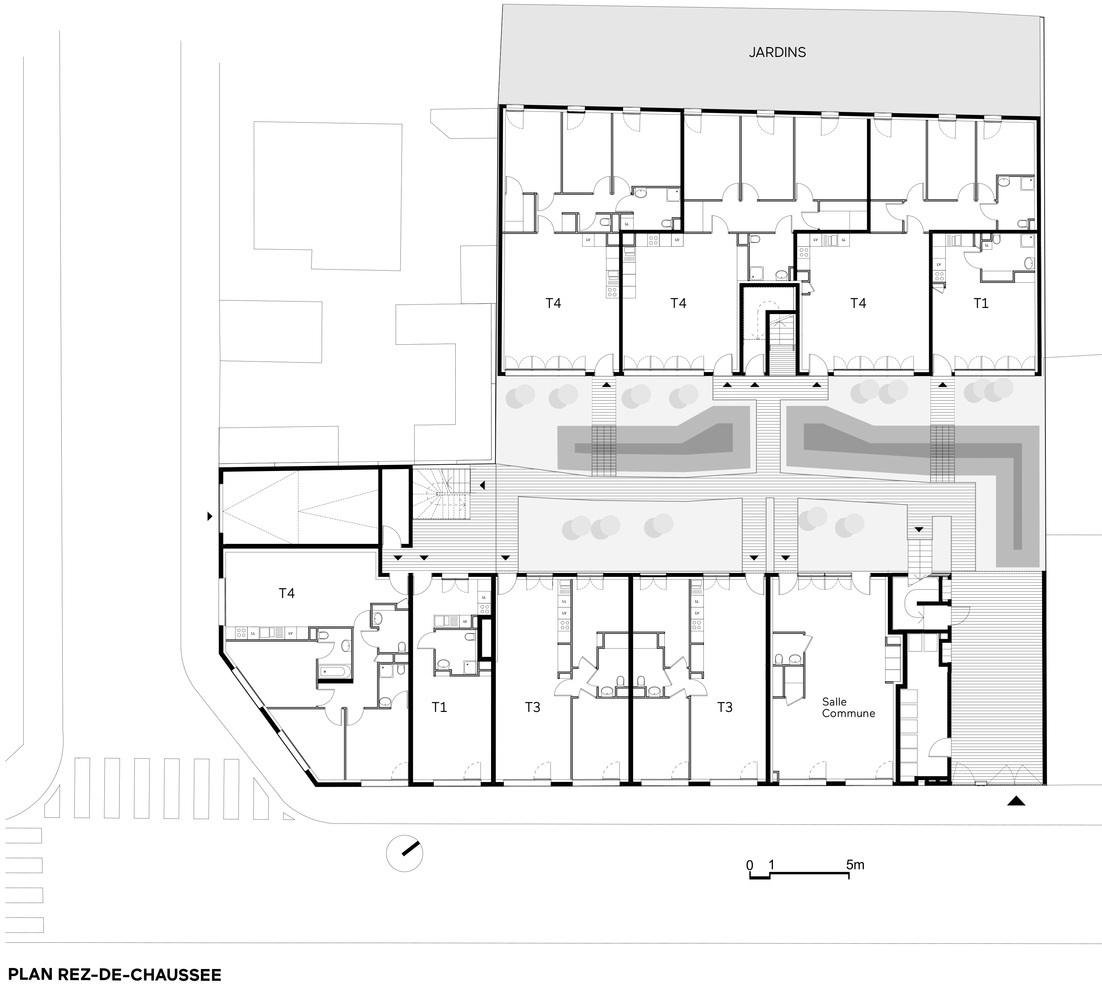 Participatory Habitat In Montreuil,Ground Floor Plan