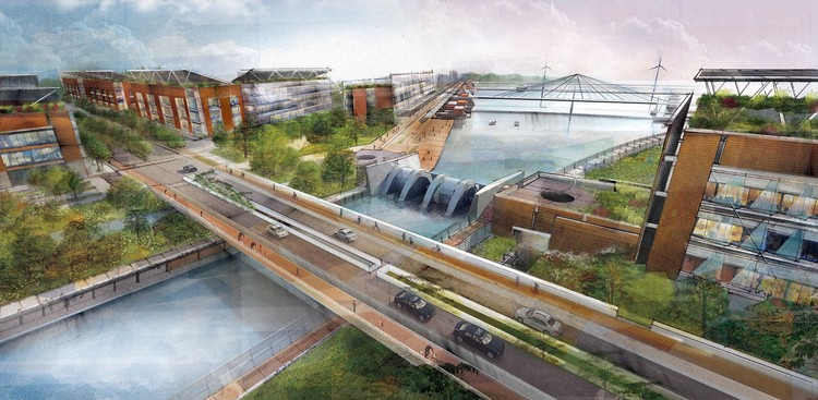 Winners Announced of Inaugural WAFX Prize for World's Most Forward-Looking Architectural Concepts, Overall Winner + Climate, Energy & Carbon Prize winner - The Hydroelectric Canal / Paul Lukez Architecture. Image Courtesy of World Architecture Festival