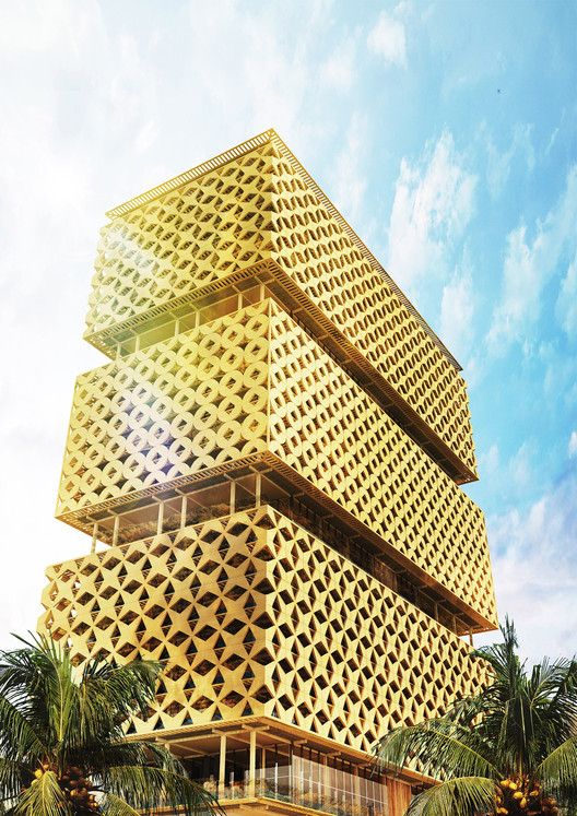 Cultural Identity Prize winner - Lagos's Wooden Tower / Hermann Kamte & Associates. Image Courtesy of World Architecture Festival
