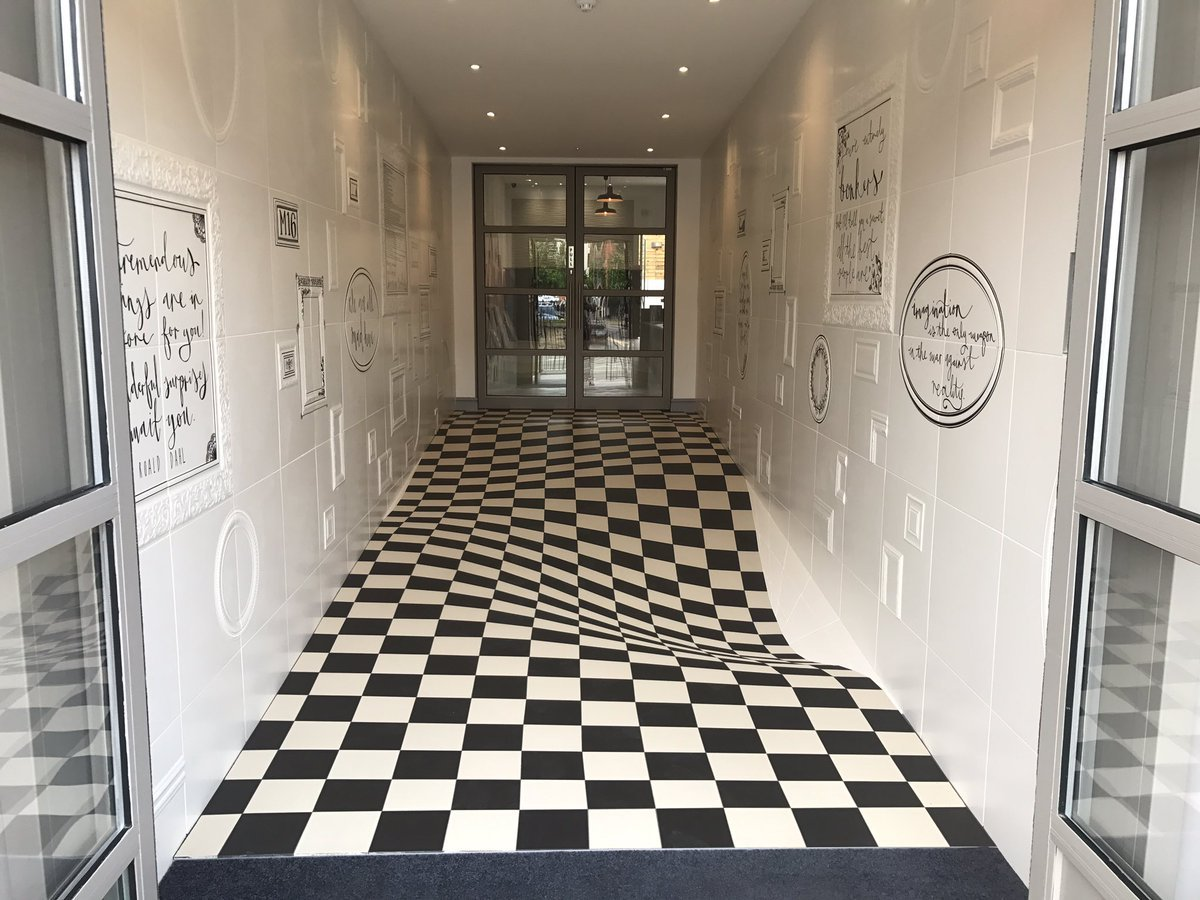 This Optical Illusion Floor Serves a Practical Purpose at Britain's Casa Ceramica