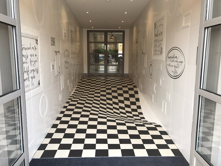 This Optical Illusion Floor Serves a Practical Purpose at Britain's Casa Ceramica, via Bored Panda