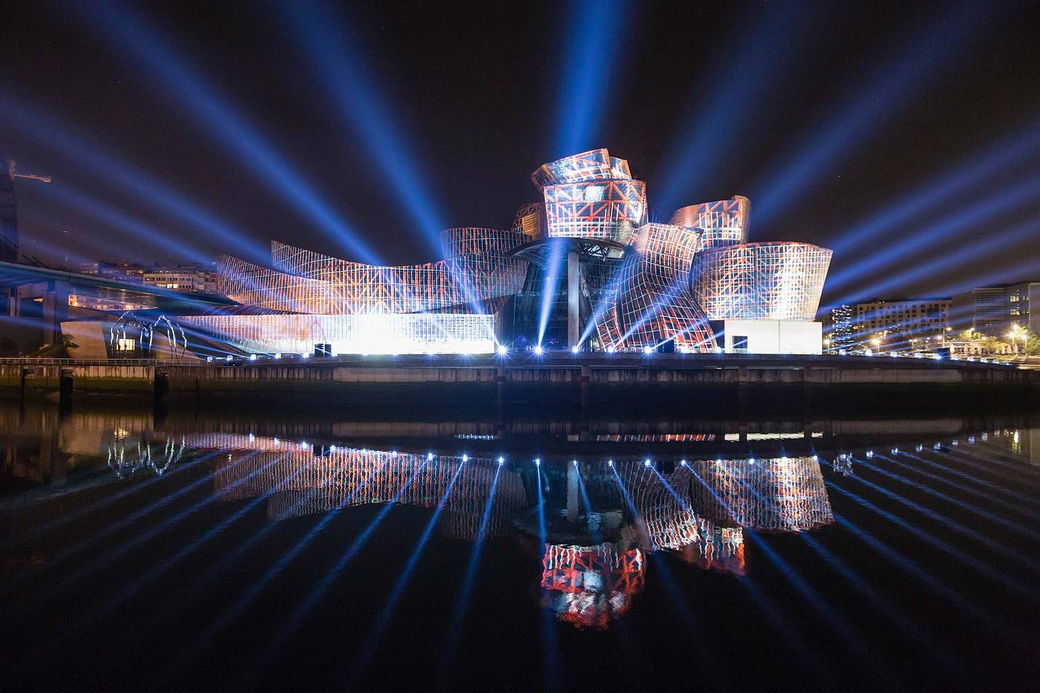 Projection Mapping Light Show Tells the Story of the Guggenheim Bilbao on Its 20th Anniversary,59 Productions transform Guggenheim Museum Bilbao with Reflections, a spectacular projection-mapping event to celebrate its 20th anniversary. Photo by Justin Sutcliffe.