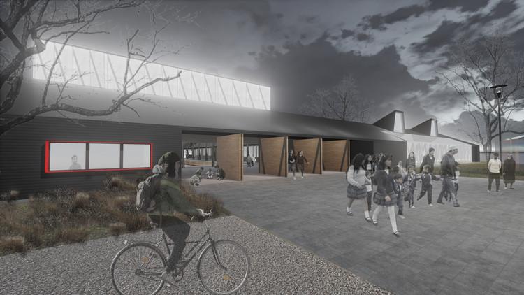 Prado Arquitectos, primer lugar en diseño de escuela municipal San Juan de Aillinco en Chile, Acceso a la plza de la cultura. Image Cortesía de Prado Arquitectos