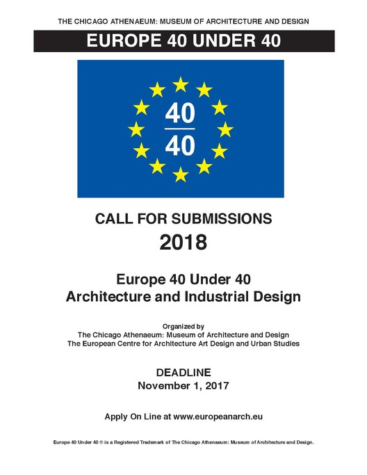 Call for Submissions: Europe 40 Under 40, Architecture & Industrial Design