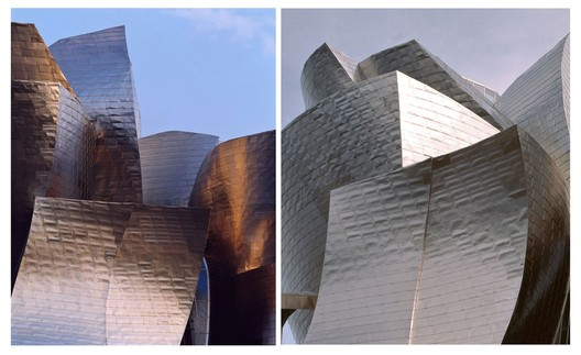 These two photographs, taken in 1997, illustrate the titanium facade's range of hue as it reflects the fluctuating sky. Image © David Heald