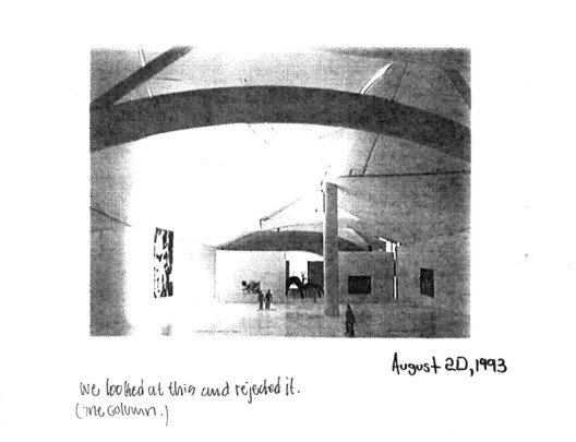 Photographs of hand-built working models were photocopied and annotated by Frank O. Gehry and Associates to share design scheme options with the project stakeholders in New York and Bilbao. This image depicts an experiment with placing a column in the Guggenheim Museum Bilbao fish gallery. It was mailed to former Solomon R. Guggenheim Museum Deputy Director Michael Goven by Doug Hanson, Frank O. Gehry and Associates Project Architect on August 24, 1993. Image Courtesy of Solomon R. Guggenheim Museum Archives, New York