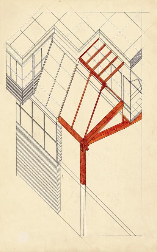 Axonometría constructiva gimnasio Colegio Maravillas. Image Cortesía de Fundación Alejandro de la Sota