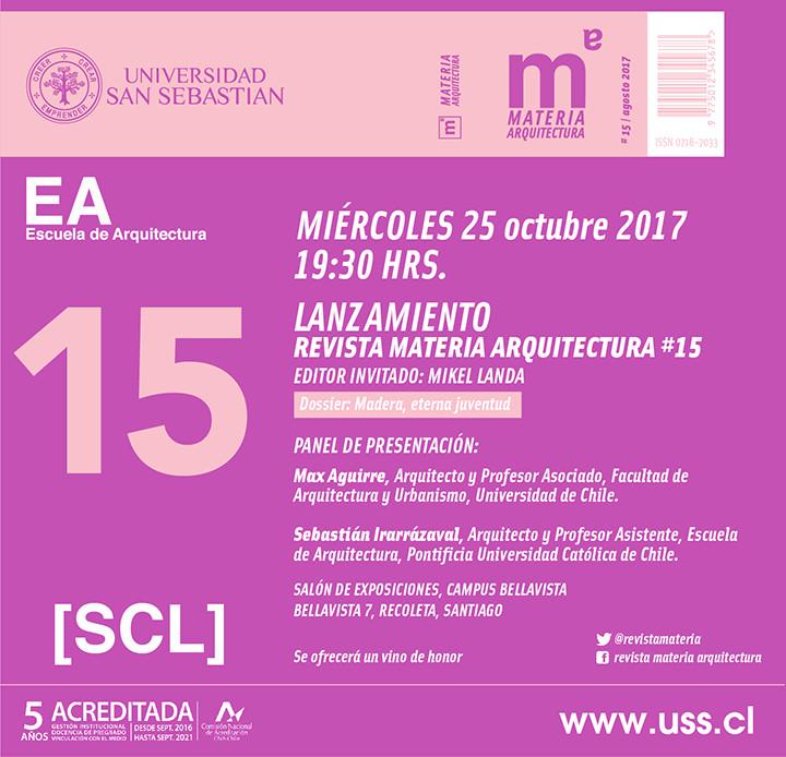 Lanzamiento Revista Materia Arquitectura #15, Revista Materia Arquitectura