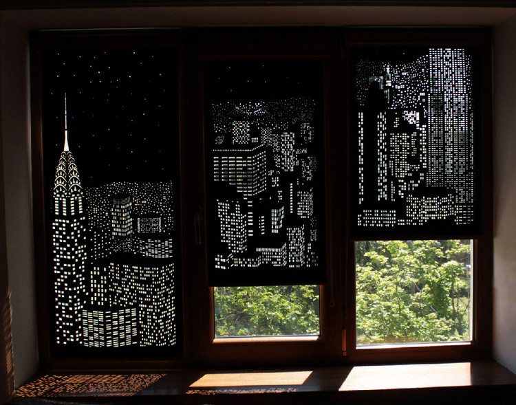 Add Style and Pizzazz to Your Living Space With These Dazzling Cityscape Curtains, via http://holeroll.com/en/