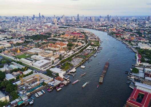 Thailand, Chao Phraya River. The Chao Phraya River as it winds through Bangkok, near the Grand Palace. Dario Lo Presti/ World Monuments Fund