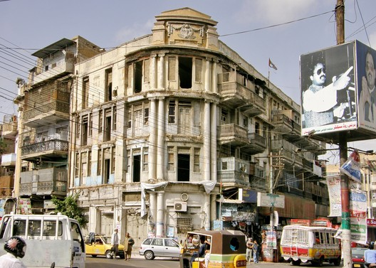 Pakistan, Historic Karachi. The Nizam Mansion on the busy intersection of Muhammad Bin Qasim and Shahrah-e-Liaquat Roads has been abandoned and neglected for decades, 2011. HC-DAPNED/World Monuments Fund