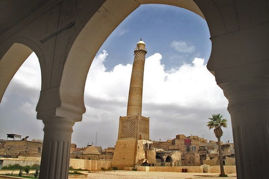 Iraq, Al-Hadba' Minaret. The al-Hadba' Minaret, seen from the mosque before its destruction, 2009. Mosab Mohammed Jaseem/World Monuments Fund