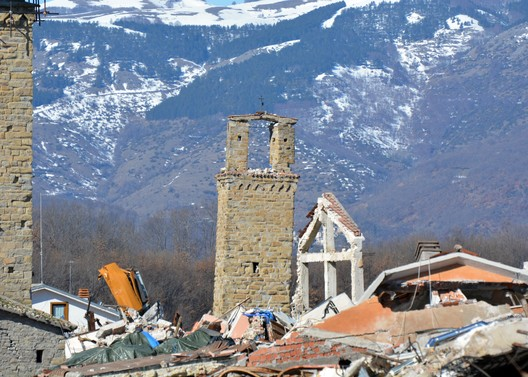 Italy, Amatrice. The bell tower is an emblem of hope and resilience amid the devastation, 2017. MIBACT/World Monuments Fund