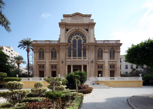 Egypt, Eliyahu haNavi Synagogue. Alexandria's Eliyahu Hanavi Synagogue, seen from Nebi Daniel Street, 2012. Roland Unger/ Wikimedia Commons/ World Monuments Fund